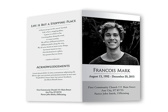 Funeral program black white brochure templates on for Funeral leaflet template free