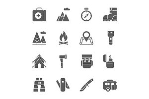 Camping, hiking, tourism icons