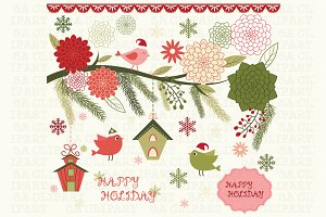 Christmas Bird Floral Clipart