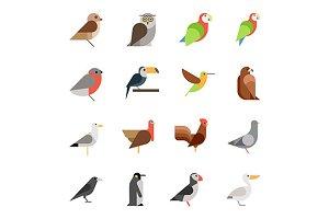 birds flat icons
