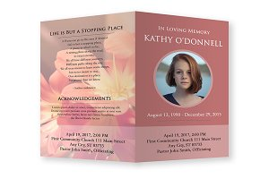 Funeral Program Template Pink