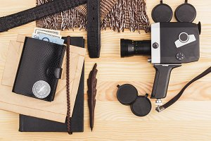 Collection from different home things on the wooden background