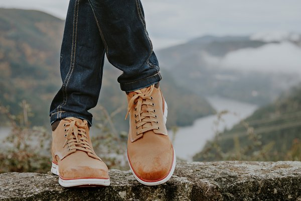 feet with hiking boots with the mou…