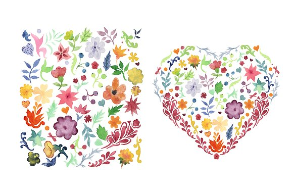 Flowers and leaves watercolor set