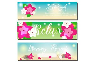 SPA and beauty banners with flowers