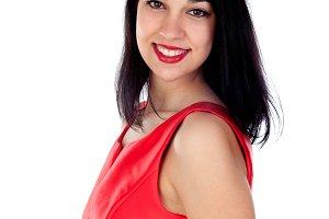 Pretty girl wearing red dress