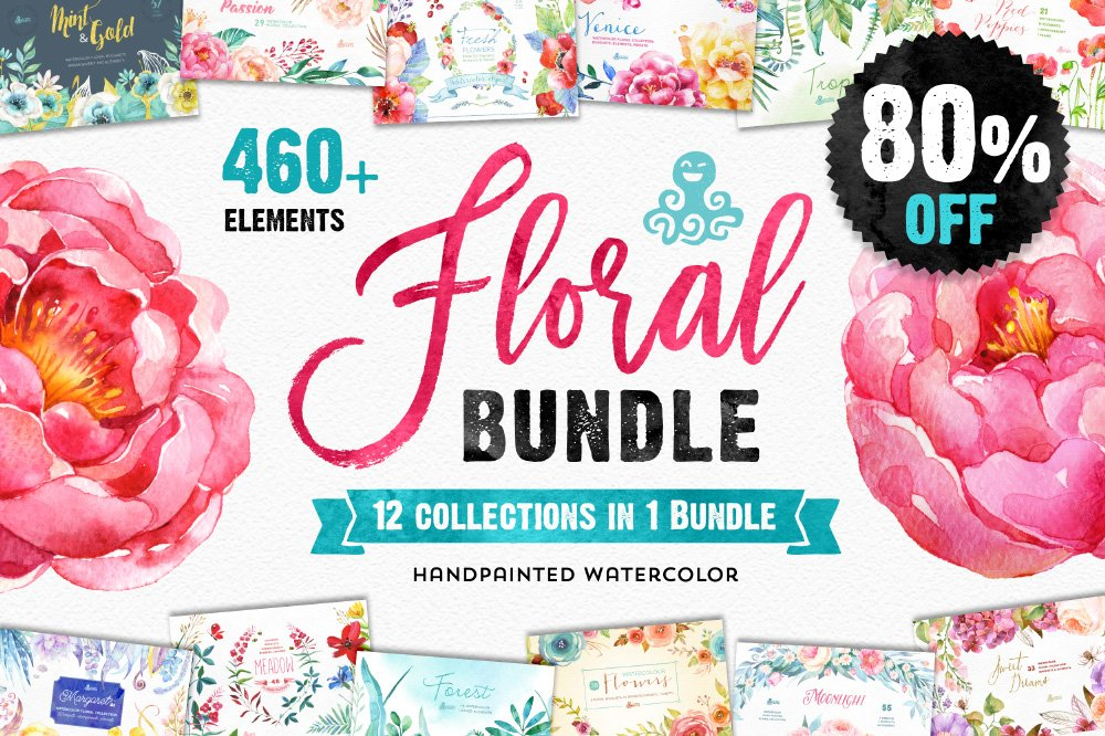 80off floral bundle 12in1 illustrations creative market fandeluxe Images