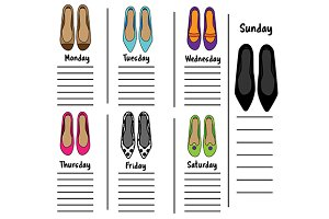 Weekly planner with female shoes