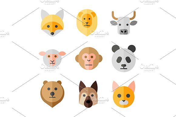 Animals heads icons