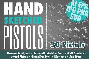 Hand Drawn Pistols & Handguns