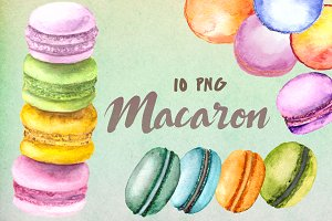 Watercolor Macaron Clip Art Set