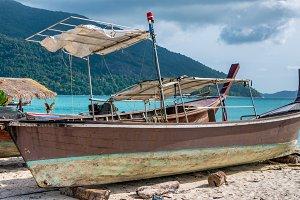 Old Police Boat on Sand Beach, Koh Lipe Thailand