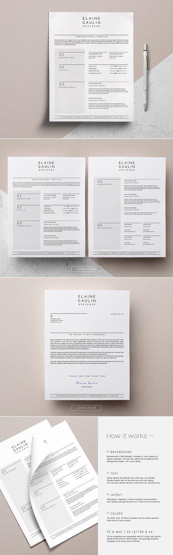 simple resume design elaine resume templates on creative market simple resume design