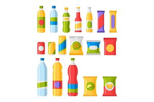 Fast food snacks and drinks icons