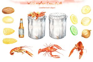 Watercolor crawfish Cliparts