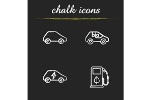 Eco friendly cars. 4 icons. Vector