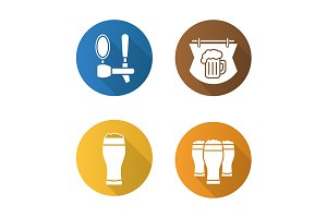 Beer pub. 4 icons. Vector