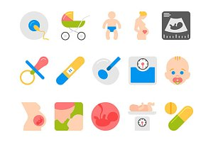 pregnancy, motherhood flat icons