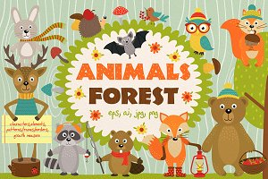 set  animals of forest