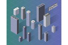 Vector isometric buildings set.