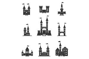 Towers and castles icons set.