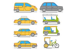 taxi transport icons
