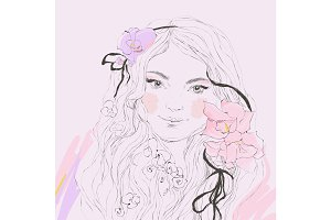 Vector portrait of beautiful woman with flowers