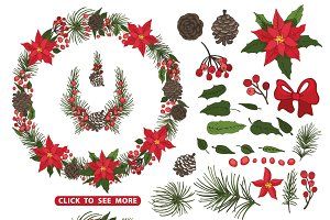 Christmas poinsettia Wreath,group2