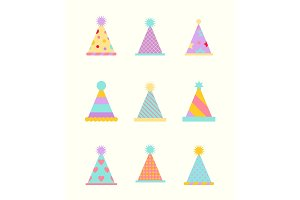 Party hat set isolated on a white.