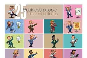 Set of characters of business people