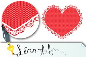 heart shape lace doily, white on red