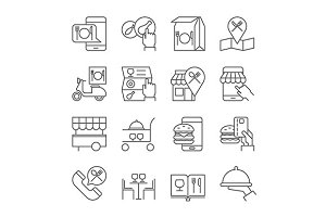 Restaurant food ordering icons