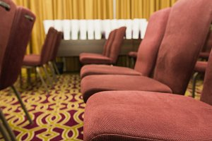 Conference chairs in a meeting room