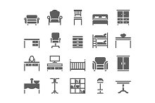 Home and office furniture icons