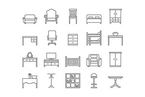 Home and office furniture line icons