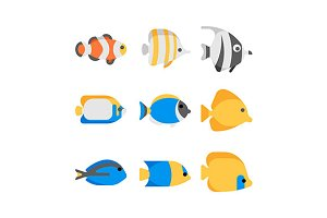 Cute tropical sea fish icons