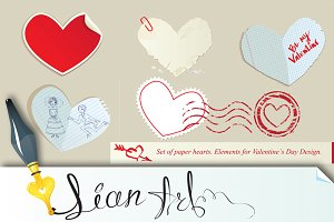 Set of paper hearts.