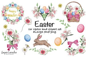 Easter vectors and clipart set