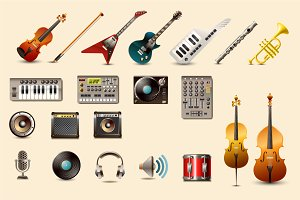 music instrument + DJ icons
