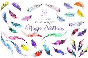 Watercolor Magic Feather Clipart