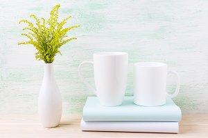 Two white coffee mug mockup