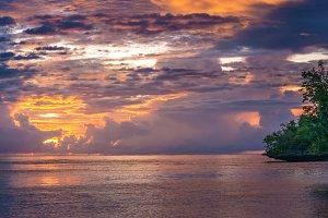 Beautiful Sunset near Kordiris Homestay, Gam Island, West Papuan, Raja Ampat, Indonesia