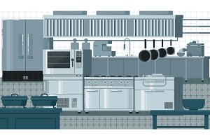Kitchen flat vector illustration