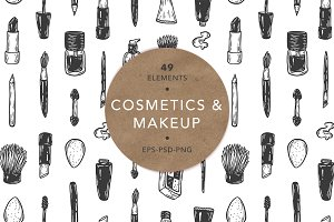 Cosmetics and makeup. Illustrations.