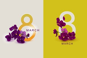 March 8 greeting card template