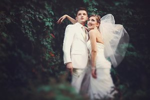 Wind blows bride's veil away