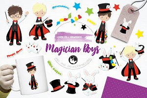 Magician boys illustration pack