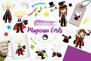 Magician girls illustration pack