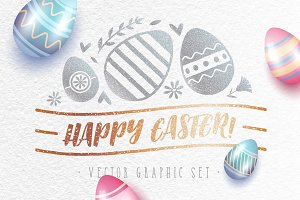 Happy Easter! Vector Graphic Set.