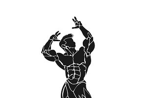bodybuilder posing, icon, vector